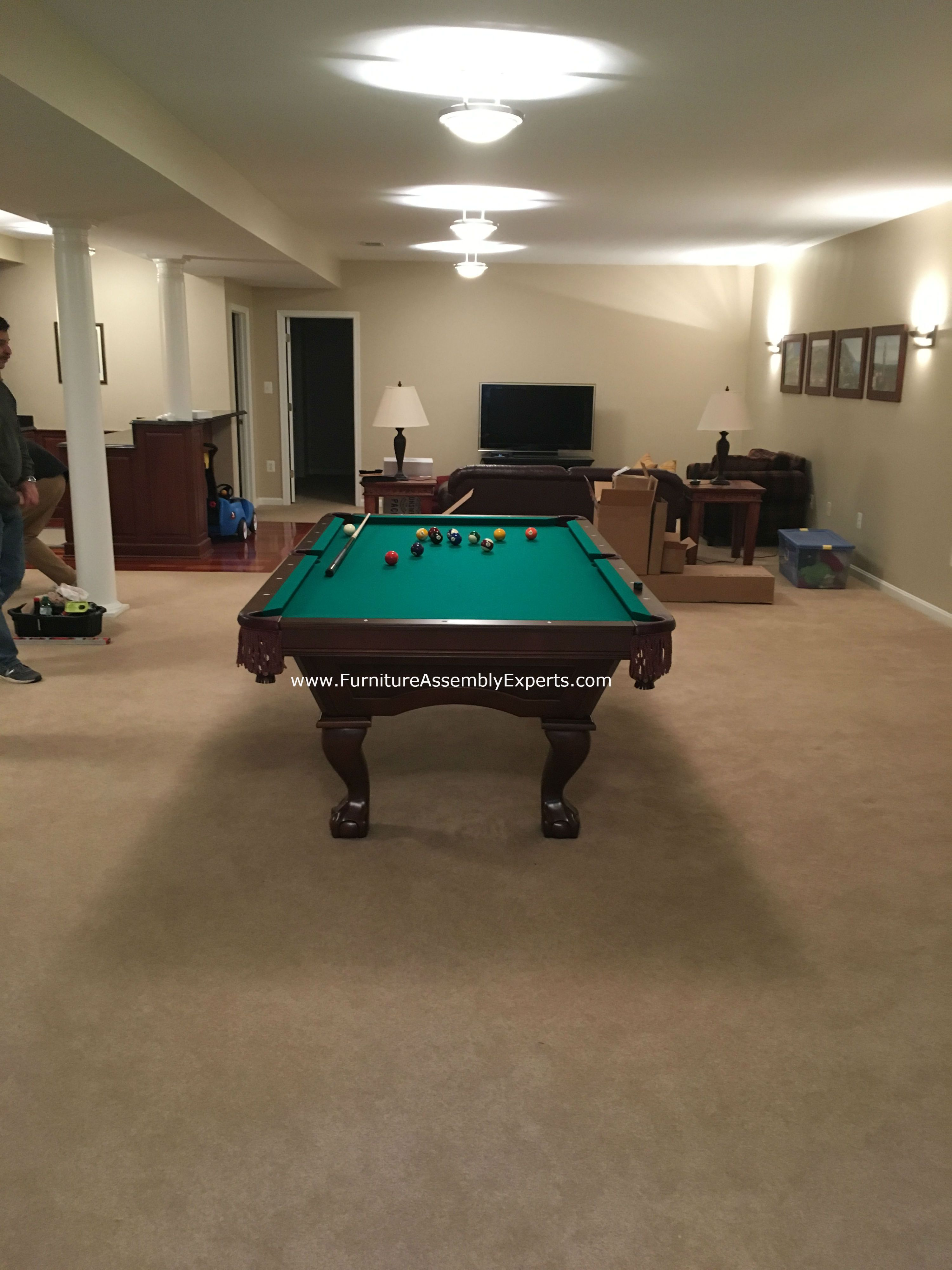 Brunswick billiards pool table assembled for a customer in