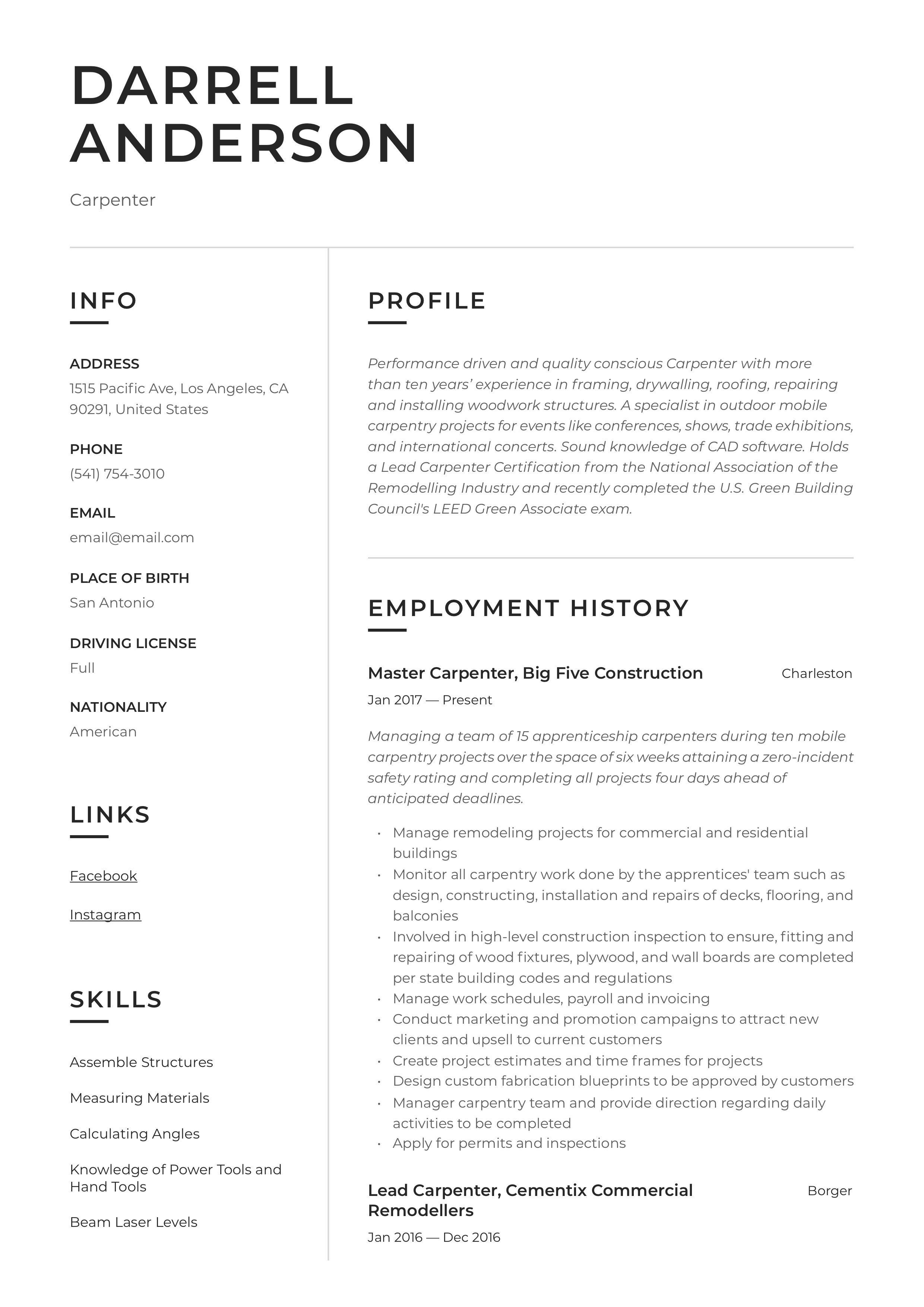 Carpenter resume sample in 2020 resume examples resume