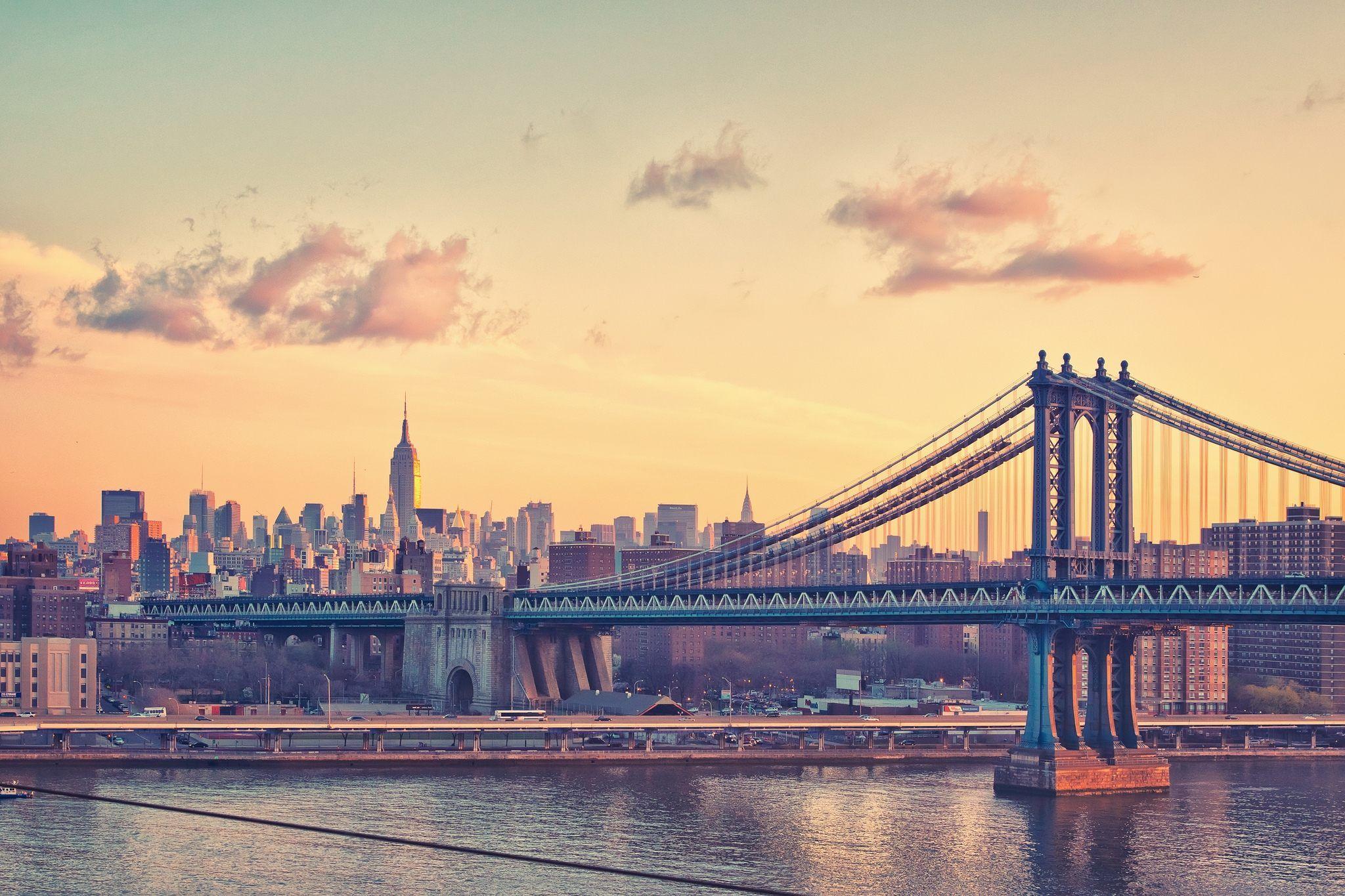 NY, манхэттен, мост, небо, здания обои, картинки, фото ...