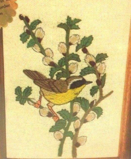"4.95 Dimensions Warbler Bird Crewel Kit Pussy Willow Powell Unopened 5 x 7 "" Vtg 1980 #Dimensions #Warbler #CrewelKit"