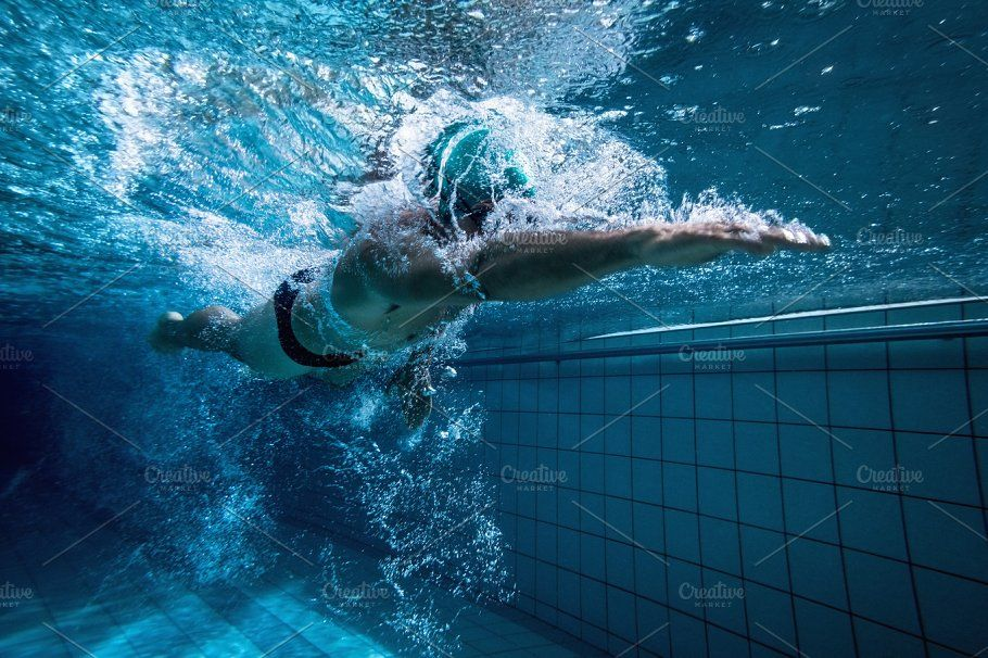 Fit swimmer training by himself Swimmer, Fitness