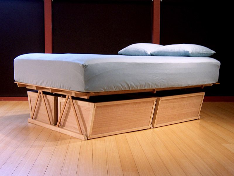 Drawing of Fascinating Beds with Drawers for Super Convenient ...