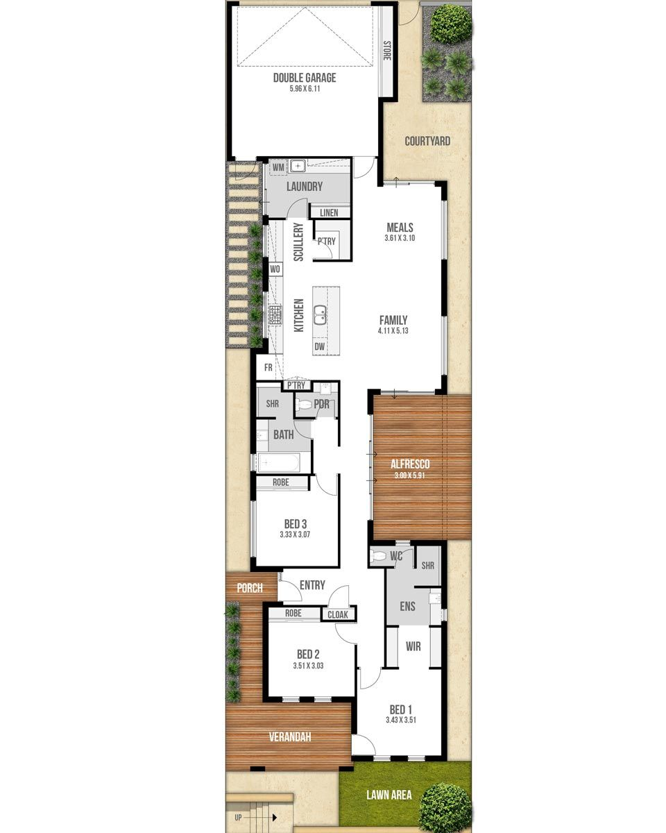 With Three Bedrooms Two Bathrooms Plus Powder This Narrow Lot Floor Plan Is Designed For B Courtyard House Plans Single Storey House Plans Narrow House Plans