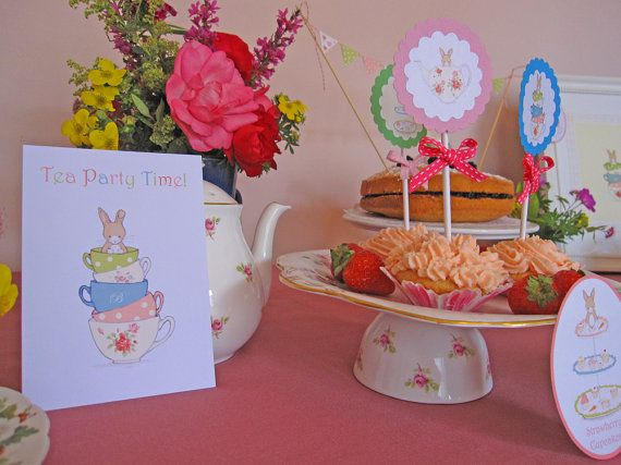easter teaparty - 6 Tea Party Time Invitations by Bumpkin on Etsy, €10.00