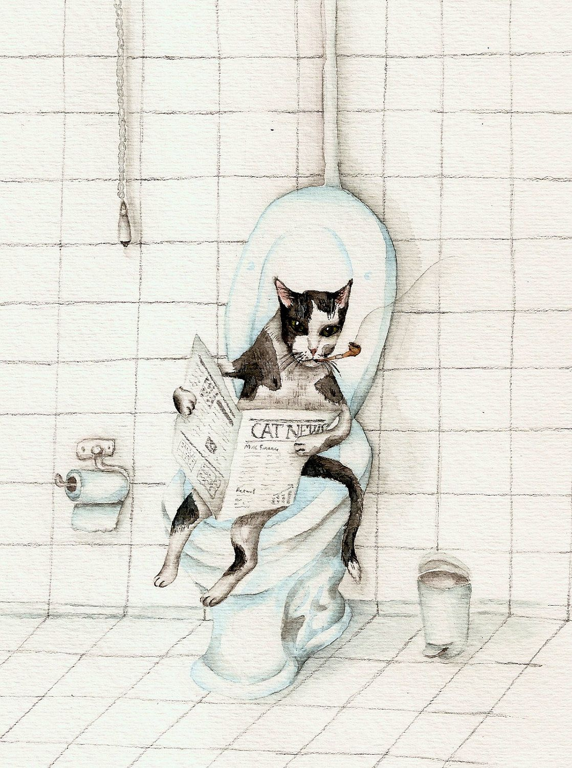 Cat Reading Newspaper On The Toilet Art Print Of Watercolor