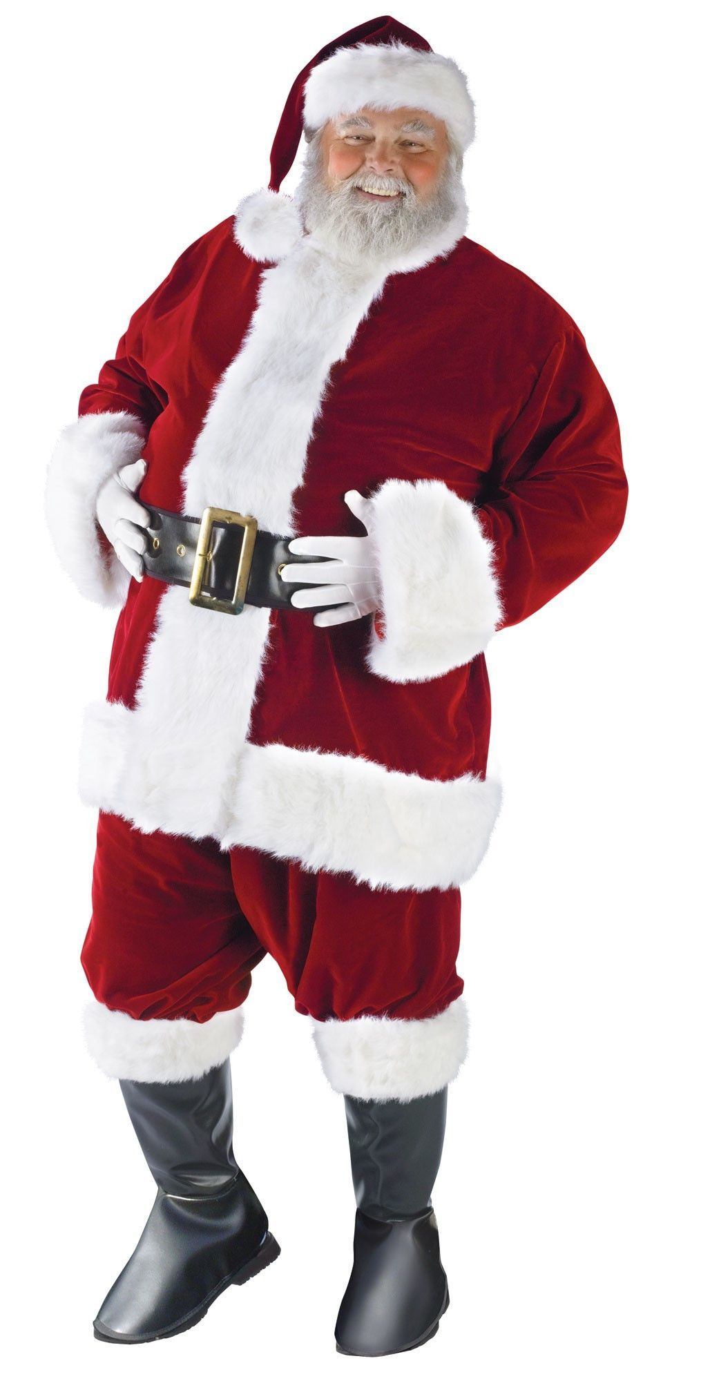 Luxury Mens Plus STD Velour Santa Suit Father Christmas Fancy Dress Outfit Xmas