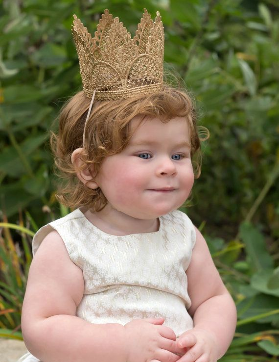 First Birthday Crown Tiara Headband - Adeline - Birthday Crown - Gold -  Lace - 1st 885be127d66