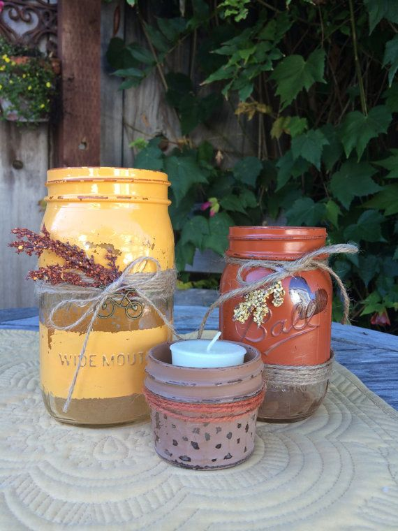 Fall Mason Jar Centerpieces set of 3 by TwineandDandy on Etsy