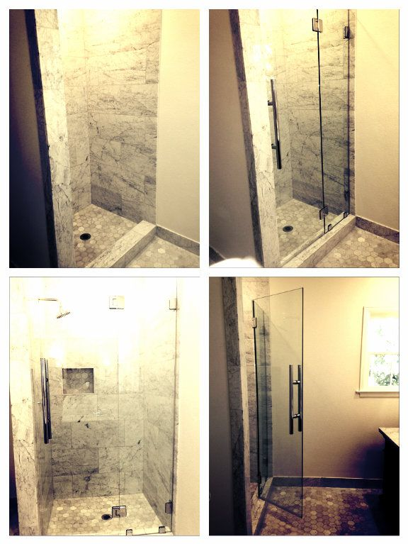Glass Doctor A Custom Inline Shower With 3 8 Clear Tempered Door Glass Hinging Off A 1 2 Clear Shower Door Installation Glass Hinges Frameless Shower Doors