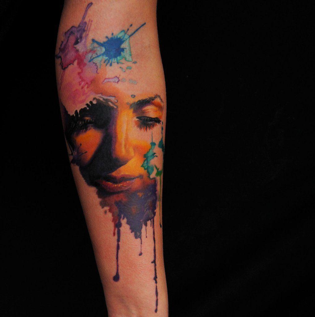 Watercolor Face Color Tattoo By Megan Jean Morris Wallingford