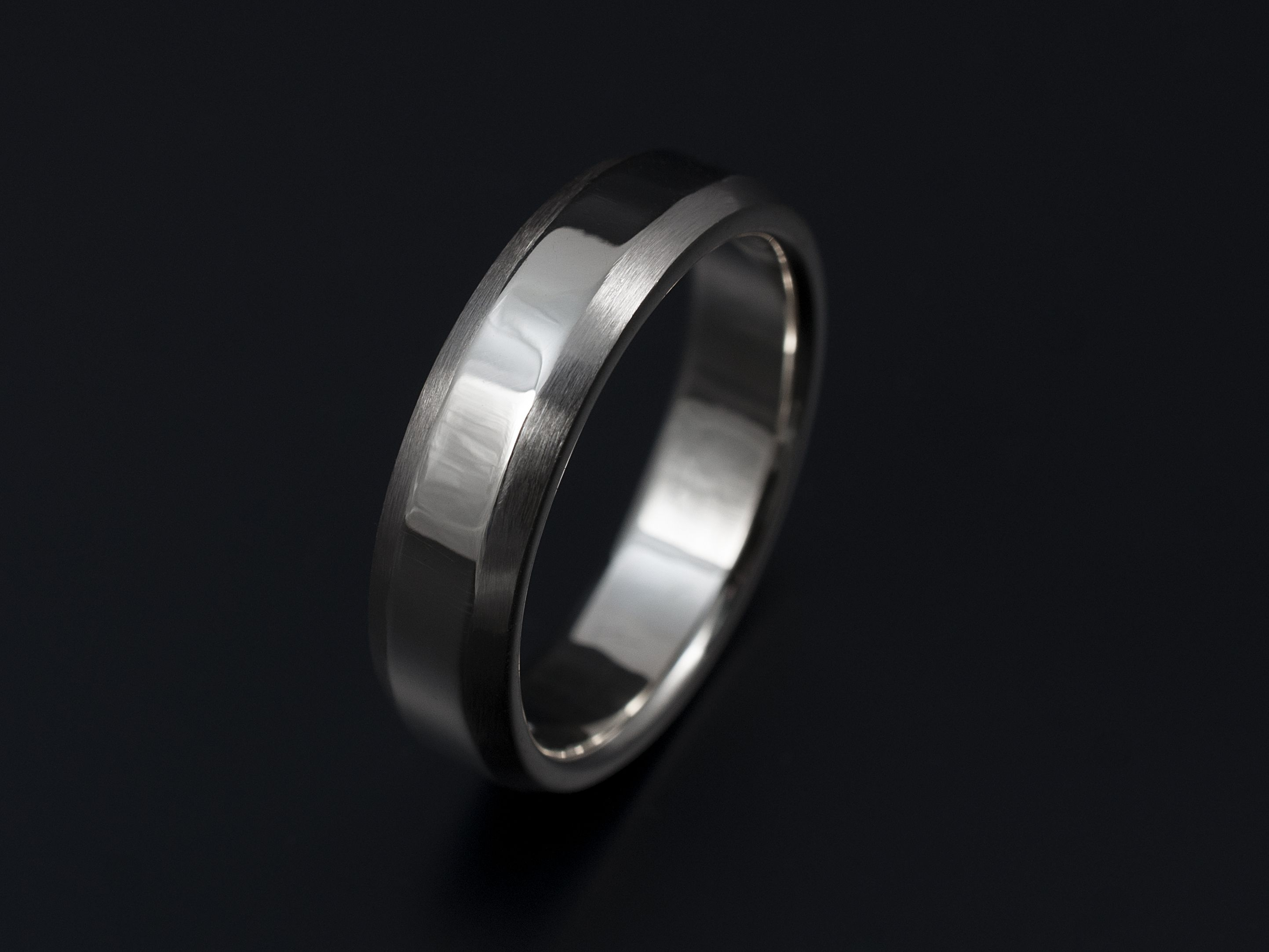 Gents palladium wedding ring mm with chamfered edges polished and