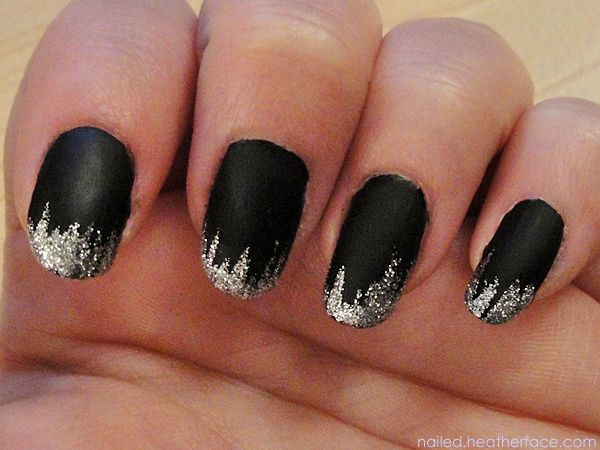 Glitter Icicle Tips On Top Of Matte Black Nailed Just Another Nail Blog