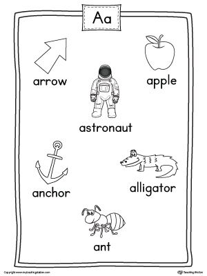 Short Letter A Word List with Illustrations Printable