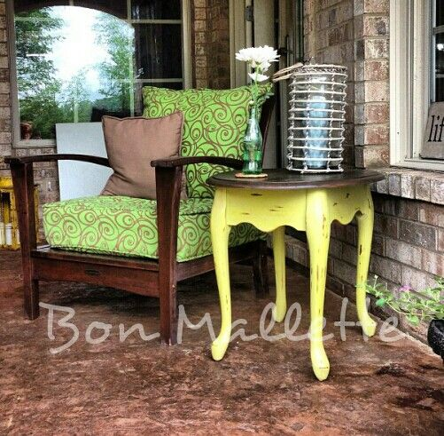 Green Distressed End Table by Bon Mallette Like us on Facebook... facebook.com/bonmallette