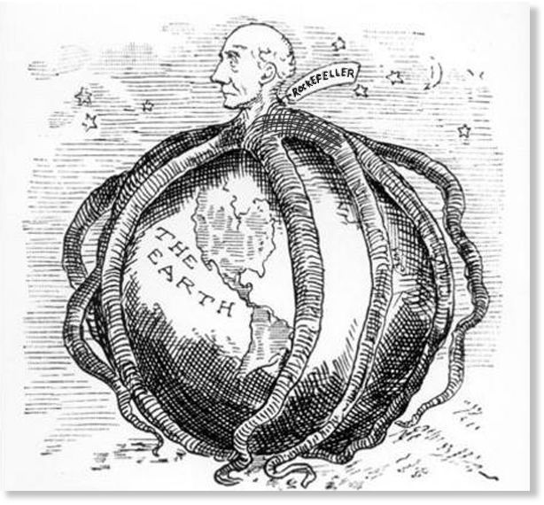 Core member of the early US banking elite John D. Rockefeller (accurately) portrayed in an early 20th century cartoon.