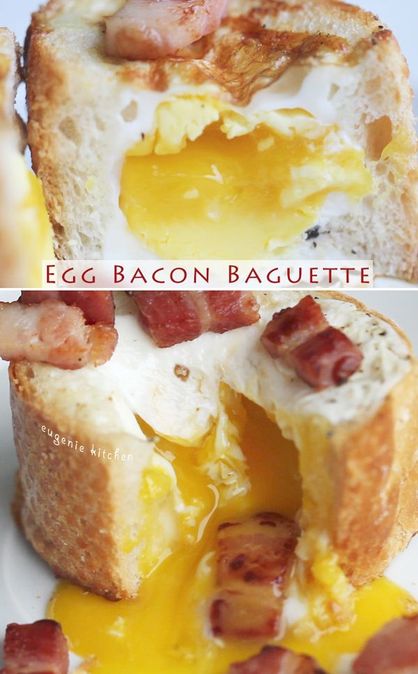 Egg Bacon Baguette Breakfast Recipe - Eugenie Kitchen. The bacon is only an optional topping, but dang this looks good!