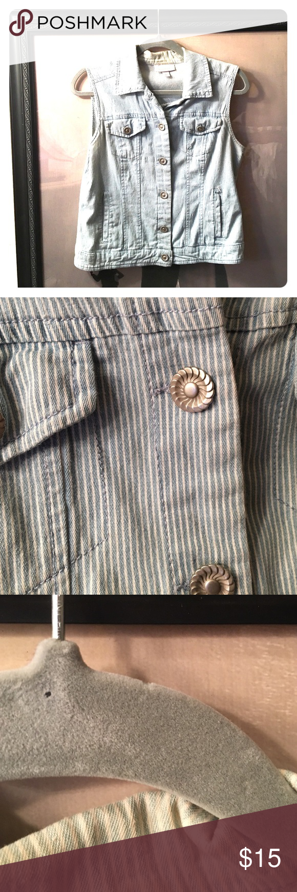 Cute Jean Vest With Flower Button Detail In good condition, some wear on inside of collie but not noticeable when worn. Dress Barn Jackets & Coats Vests