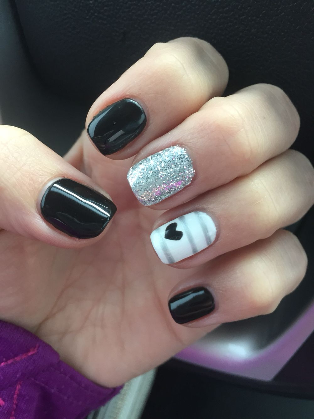 Shellac Nails Black Stripes Glitter Hearts