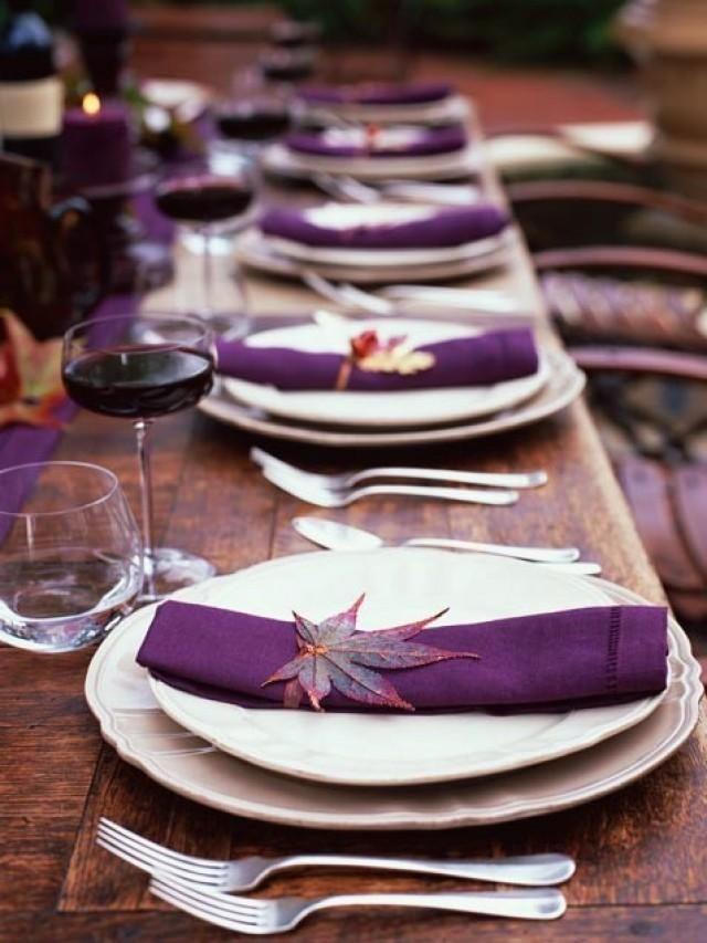 Dark Plum Place Settings | Wedding Flowers | Pinterest | Place ...