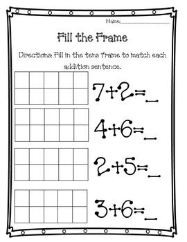 Fill The Frame Teacherspayteachers Com Teaching Math Addition Kindergarten Unschooling Math