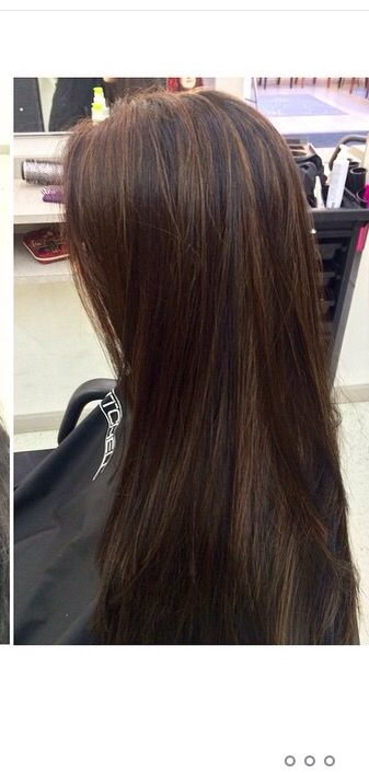 Black Hair With Brown Highlights Hair Styles Hair Highlights Brown Hair Dye