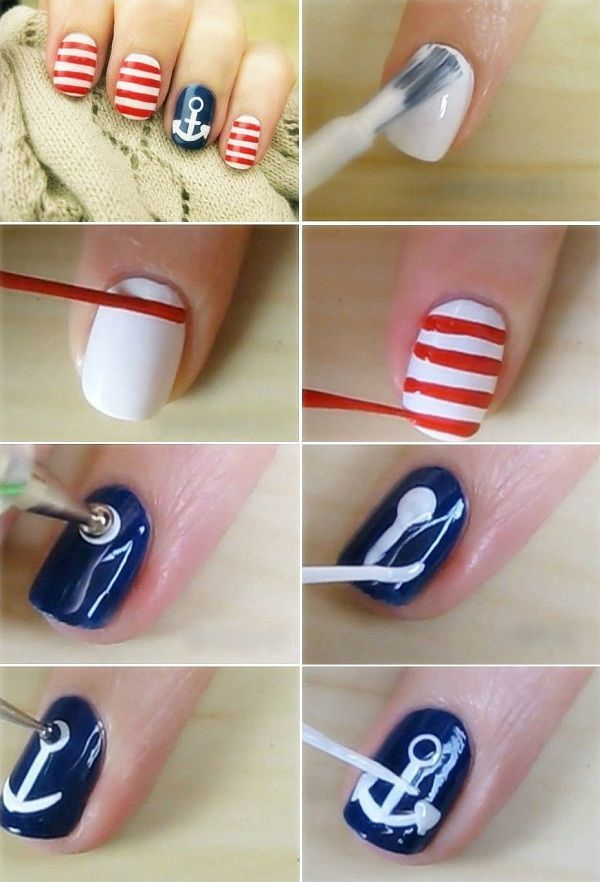 Nautical Nail Art Tutorial Diy Pinterest Nautical Nail Art