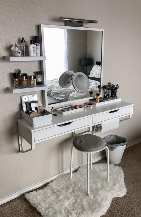 21 Photos of How Real People Store Their Makeup Bedrooms, Vanities