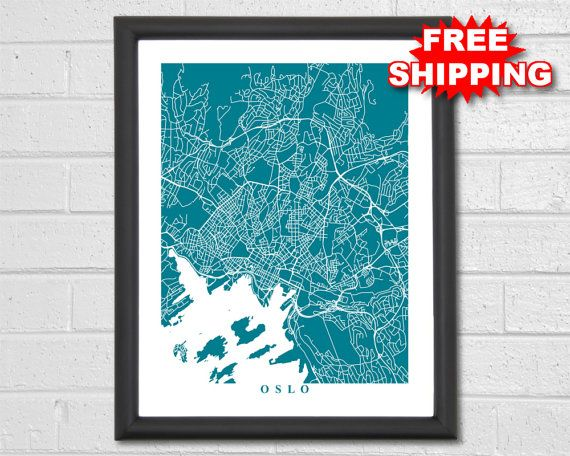 Oslo map art map print norway europe world map travel gift free shipping on all orders in the usa beautiful print of oslo streets the gumiabroncs Gallery