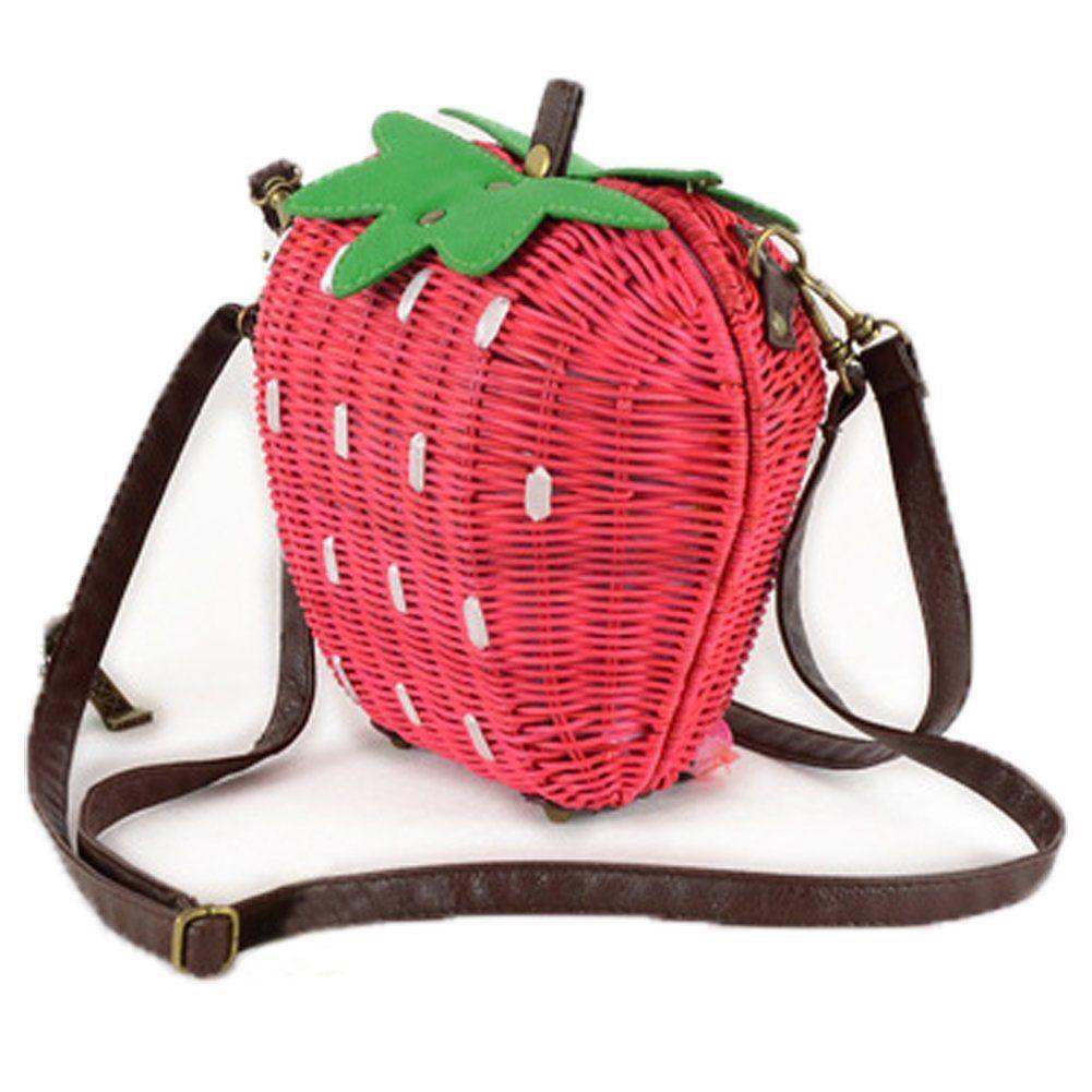 FTSUCQ Strawberry Handmade Crochet Straw Woven Shoulder Handbags Tote Beach Bag  FTSUCQ Strawberry Handmade Crochet Straw Woven Shoulder Handbags Tote Beach Bag
