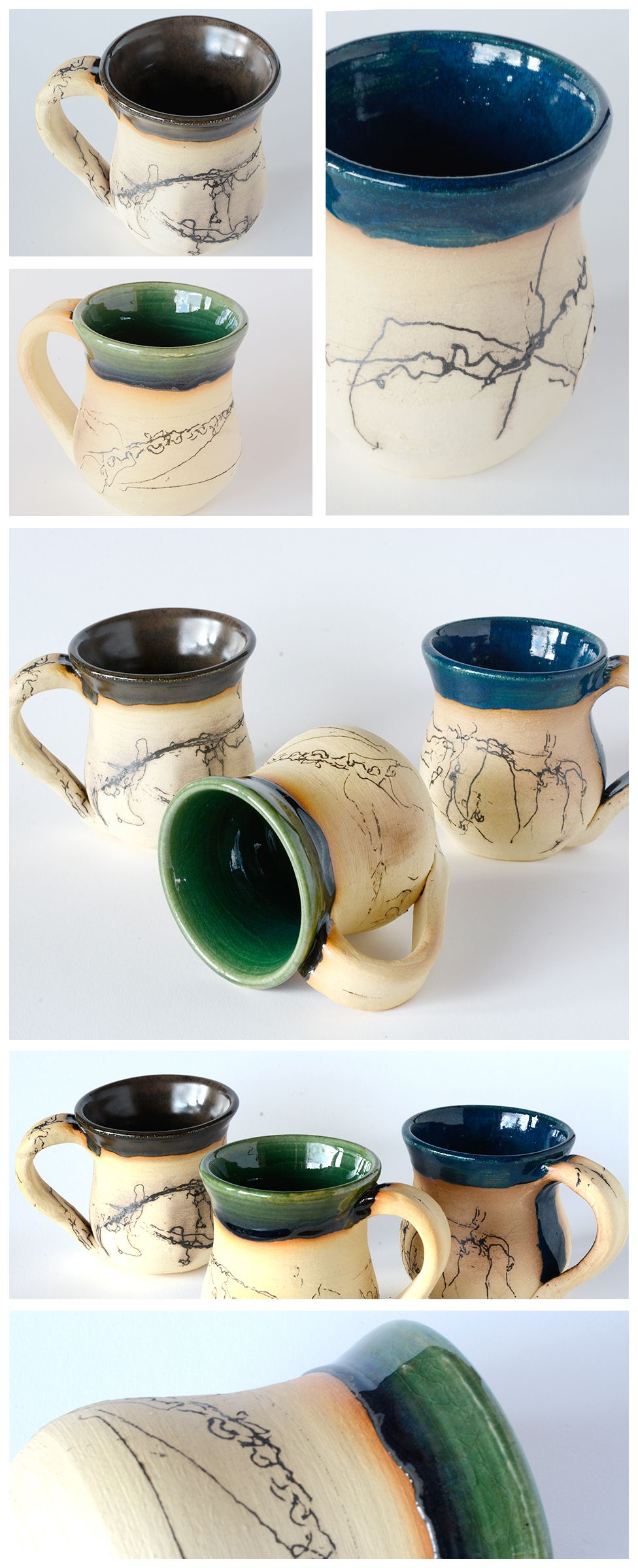 Horsehair Pottery And Coffee Mugs All In One Glazed Inside And Horse Hair Applied On The Outside Order Your Personal Horse Hair Pottery Pottery Mugs Pottery