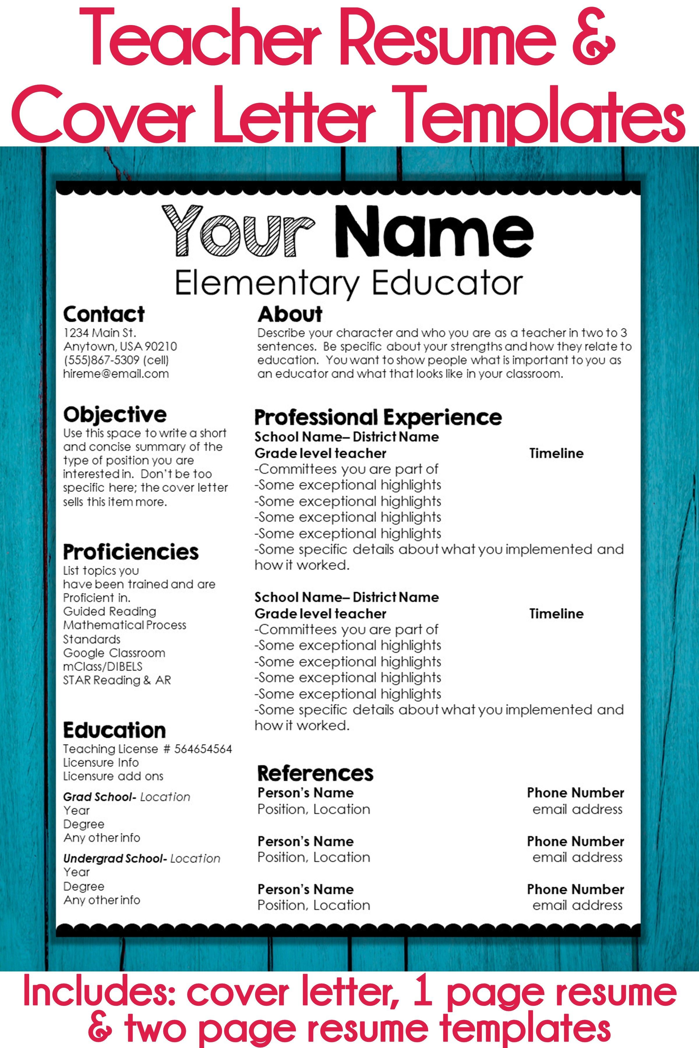 Editable Teacher Resume and Cover Letter Template
