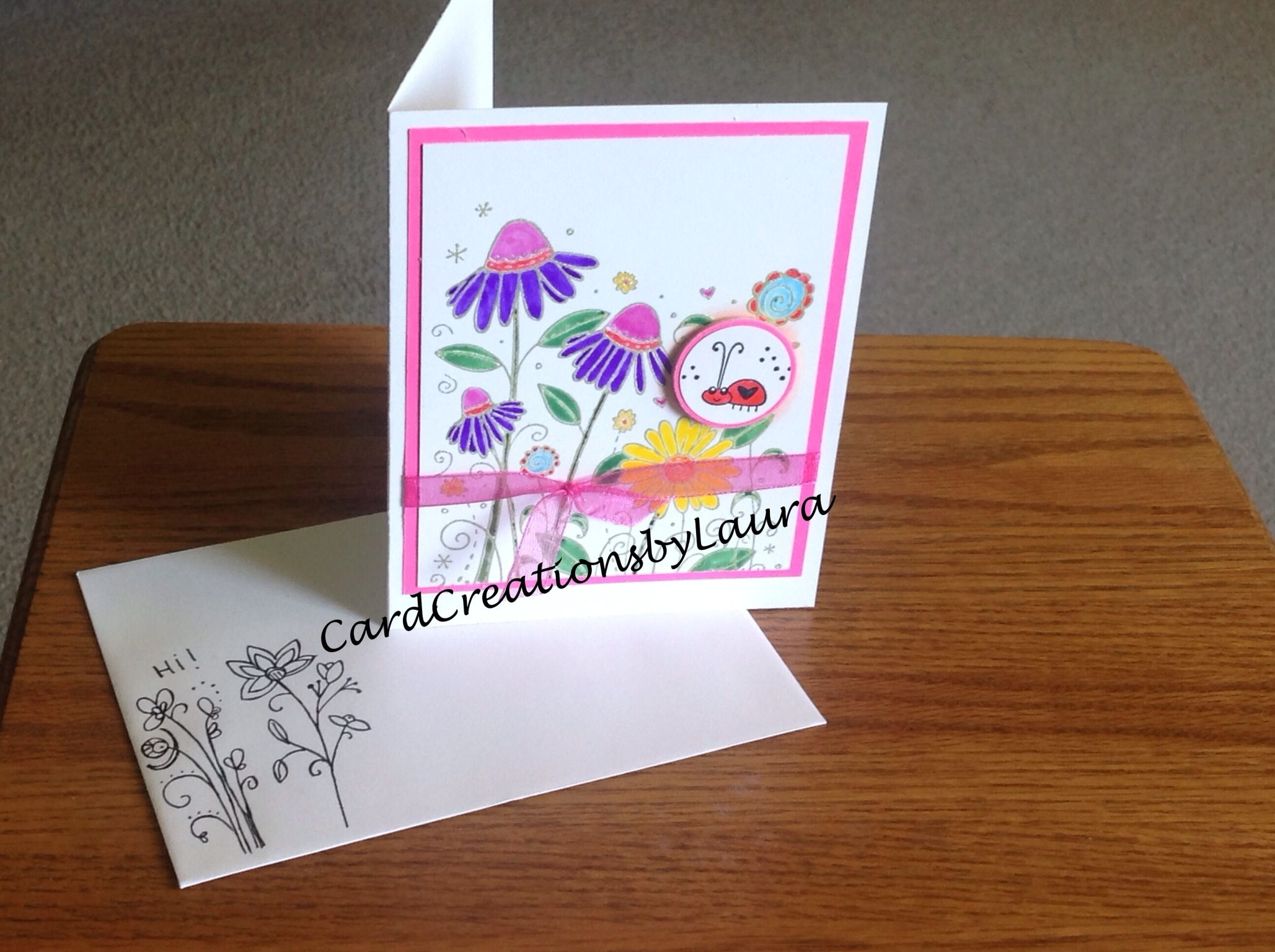 Lady Bug Card for a Friend - CardCreationsbyLaura