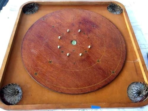 Antique-Vintage-Carrom-Archarena-Co-Large-Game-Board-Double-Sided-Wood
