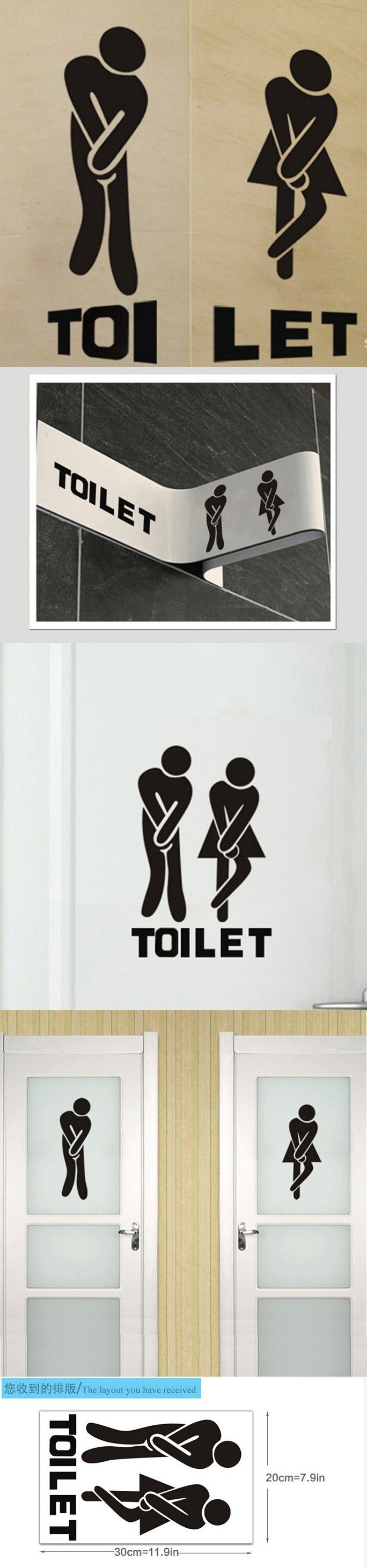 French Wall Stickers Funny Toilet Entrance Sign Sticker For France