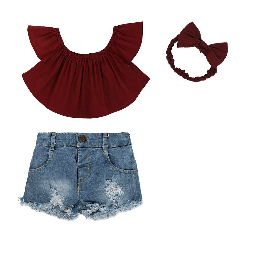 85bc421a6562f1 3pc Cute Baby Girl Red Off Shoulder Top + Hole Shorts Jeans+ Headband  Outfits Set.