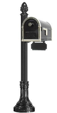Heavy Duty Steel Mailbox Finished In Black And Brushed Nickel 4 Od Fluted Round Post Direct Burial Installation