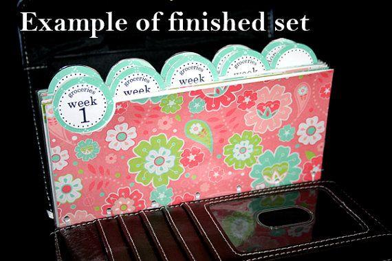 laminated cash envelope system in pink floral plaid 10 envelopes