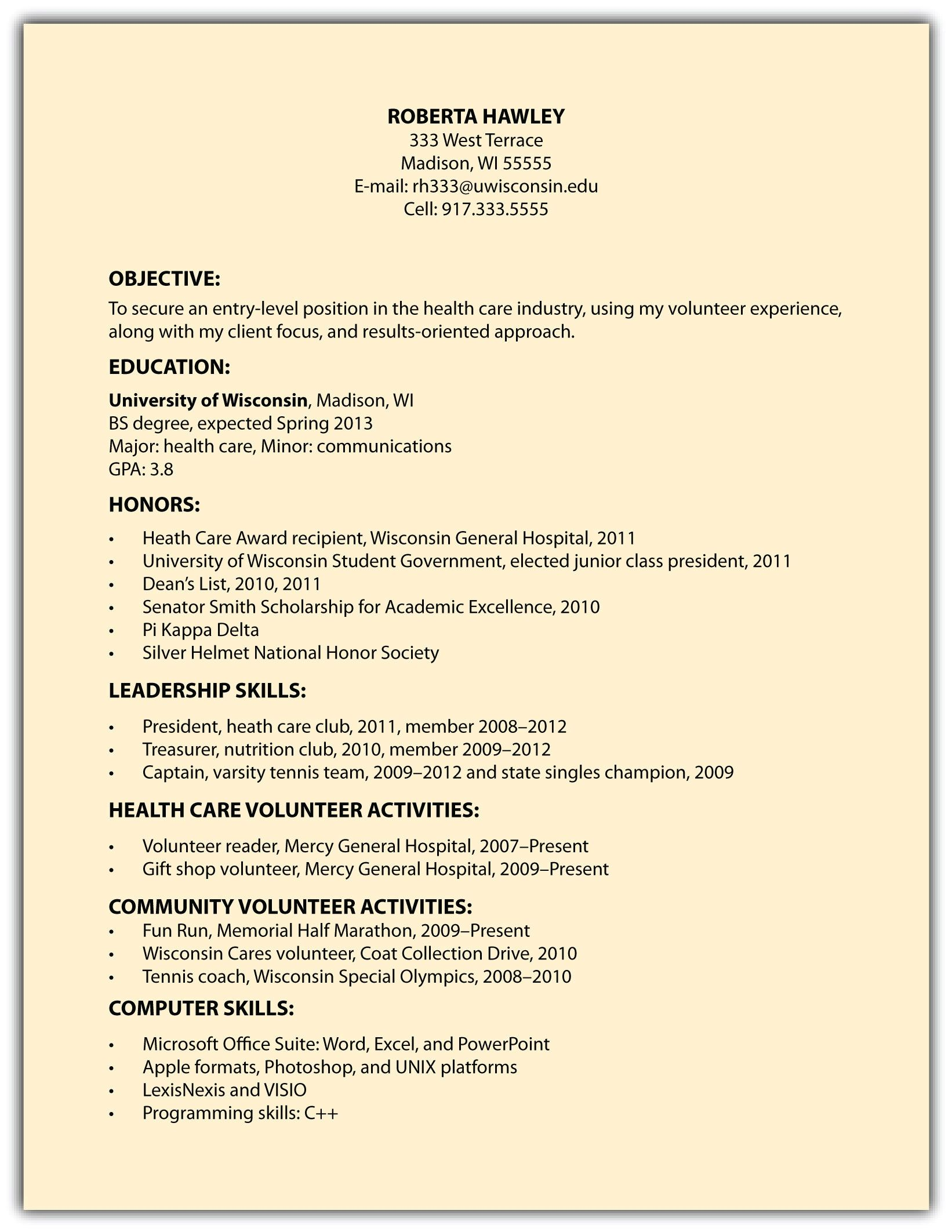 Example Of A Simple Resume Simple Resume Objective Examples Example Within Basic Outline
