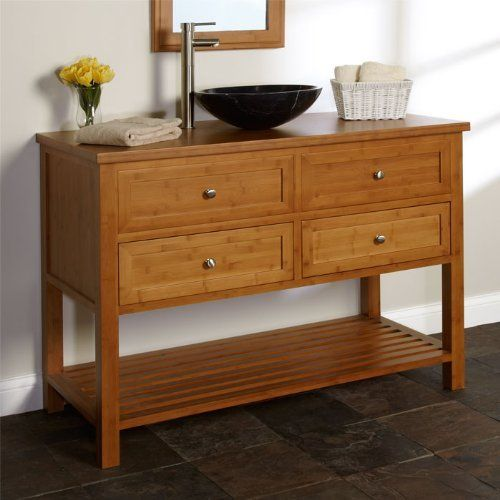 """48"""" Taren Bamboo Vanity Cabinet with Bamboo Top - No Drillings by Milforde Collection, http://www.amazon.com/dp/B007KDZY1K/ref=cm_sw_r_pi_dp_P9rVqb0MZBPPY"""