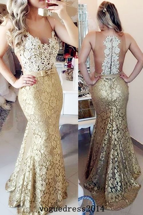 Illusion Mermaid Sweep Train Champagne Prom Evening Dress With Bow ... 9bd275bf9ba6