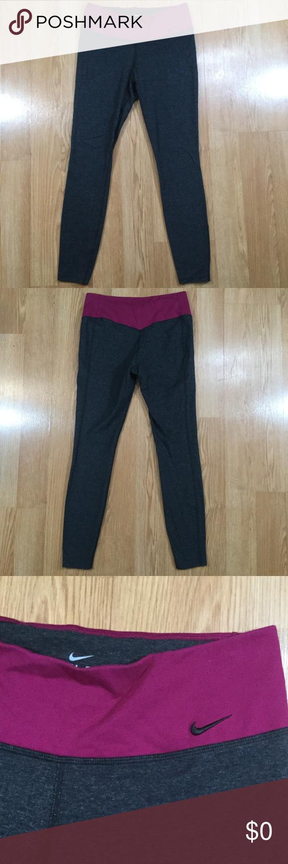Nike Dri-Fit workout leggings gray and purple | Workout ...