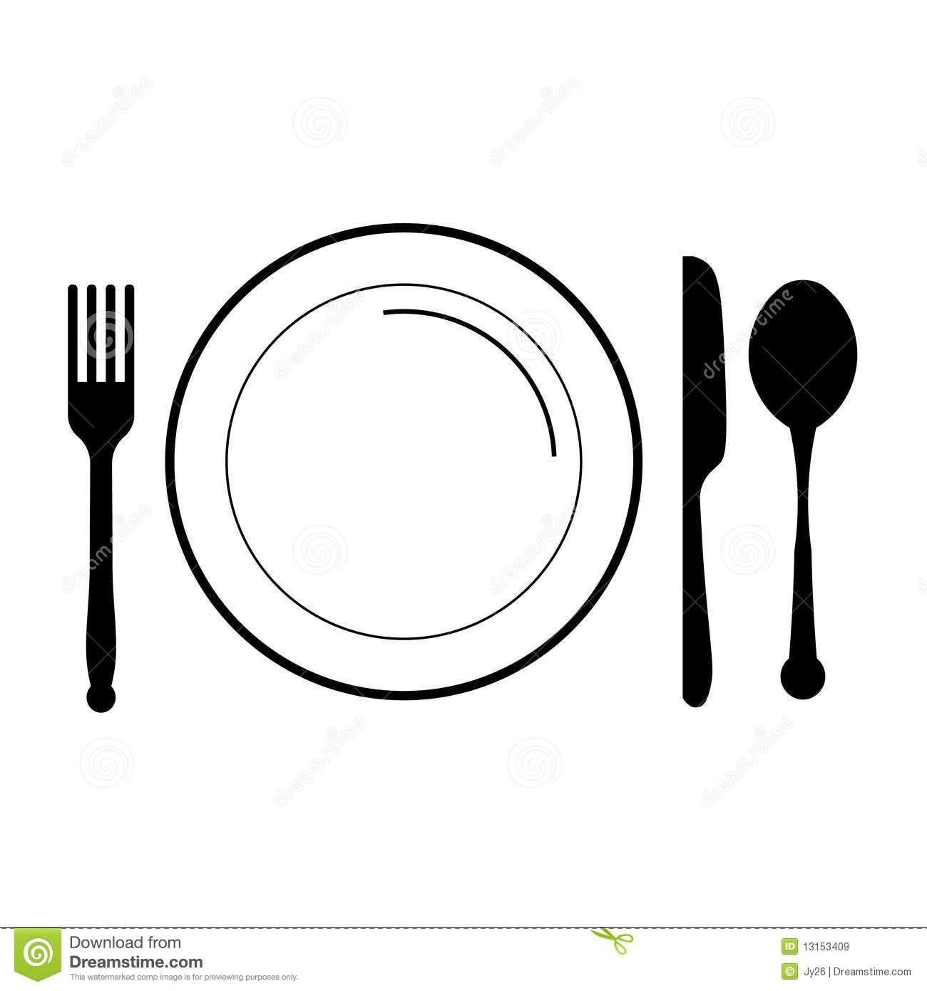 Plate Fork Knife Clip Art