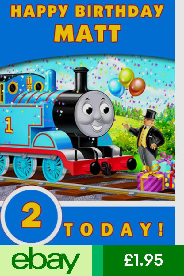 Thomas The Tank Engine Blue Personalised Birthday Card Add Your Own Name Age Personalized Birthday Happy Birthday Matt Birthday Cards
