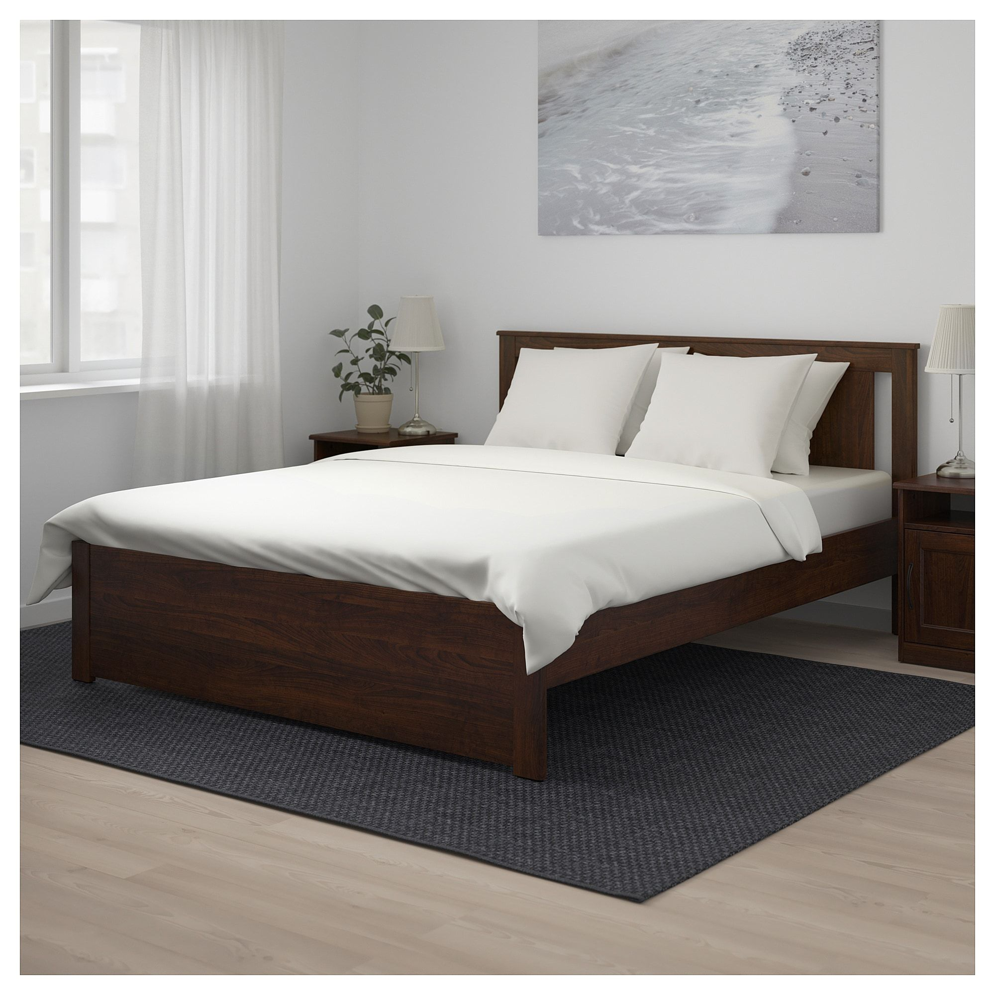 Songesand Bed Frame Brown Luroy Full Double In 2020 Bed Frame