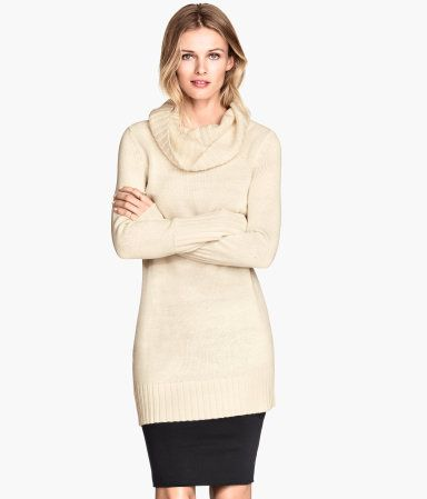 Long sweater in natural white with large cowl-neck collar. Toughen ...