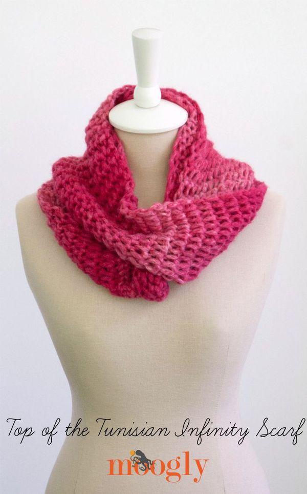 Top of the Tunisian Infinity Scarf - free crochet pattern on Mooglyblog.com