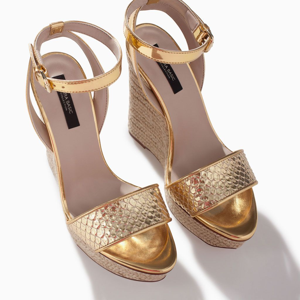 1bc8b2abeb7 PYTHON-EMBOSSED LEATHER WEDGE from Zara | Stay calm n buy shoes ...