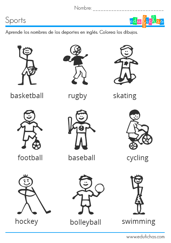 Ficha Infantil Para Aprender Los Deportes En Ingles Inglese Attivita Motorie Scuola
