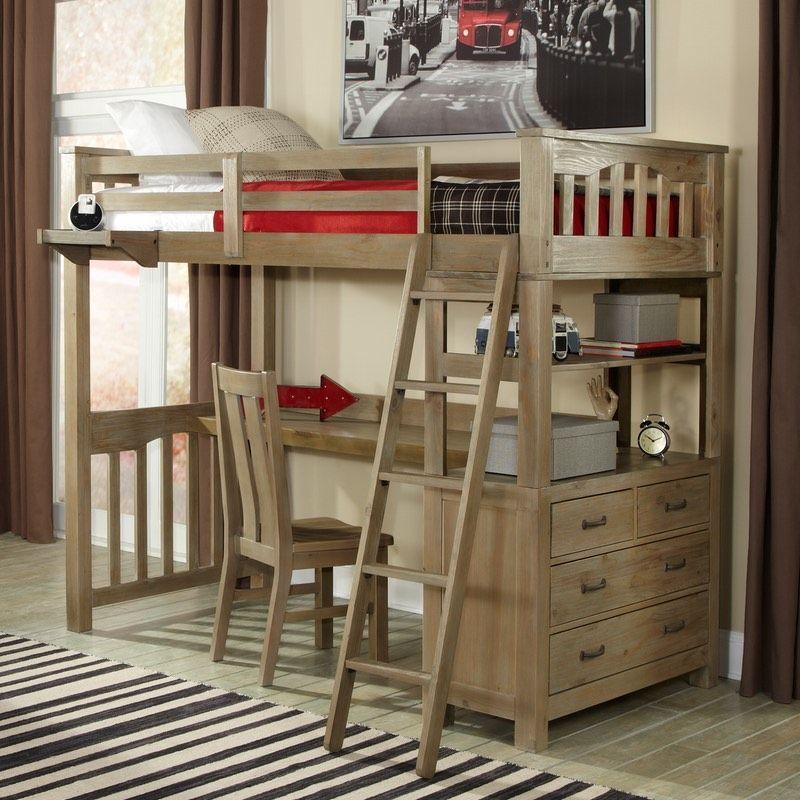 Twin Highlands Harper Loft Bed In Driftwood With Desk Option
