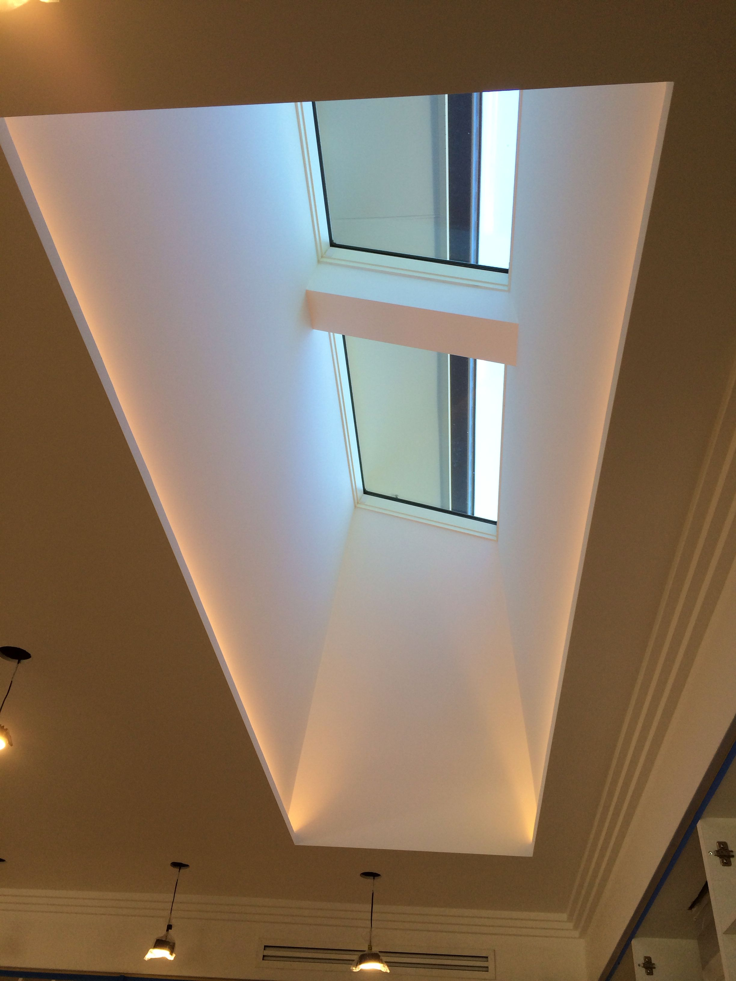 Cove lighting led - Skylight And Light Well With Led Strips Hidden Along The Two Long Edges Looks Like